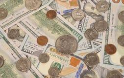 Vario delle monete e delle banconote Immagine Stock Libera da Diritti