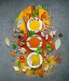 Vario delle spezie e delle erbe in ciotola ceramica Disposizione piana delle spezie Fotografia Stock Libera da Diritti