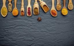 Vario delle spezie e delle erbe in cucchiai di legno Disposizione piana delle spezie Immagini Stock Libere da Diritti