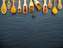 Vario delle spezie e delle erbe indiane in cucchiai di legno Disposizione piana di Fotografie Stock Libere da Diritti