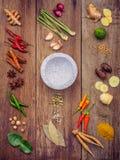 Vario di alimento tailandese che cucina gli ingredienti ed il curry di rosso della spezia Immagini Stock