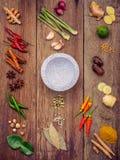 Vario di alimento tailandese che cucina gli ingredienti ed il passo di danza rosso del curry della spezia Fotografia Stock