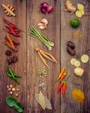 Vario di alimento tailandese che cucina gli ingredienti ed il passo di danza rosso del curry della spezia Fotografia Stock Libera da Diritti