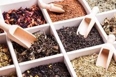 Vario di tè in una scatola fotografia stock libera da diritti