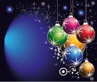 Vario fondo de las bolas de la Navidad con los copos de nieve stock de ilustración