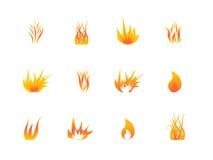 Vario insieme dell'icona delle fiamme Immagini Stock