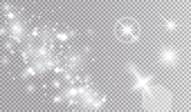 Vario insieme di progettazione di effetti della luce bianca Fotografia Stock Libera da Diritti