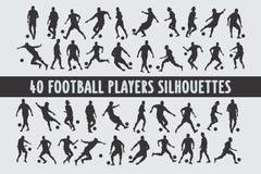 Vario insieme di progettazione di 20 di Footbal siluette dei giocatori illustrazione di stock