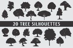 Vario insieme di progettazione di 20 siluette degli alberi royalty illustrazione gratis