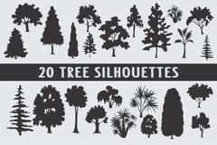Vario insieme di progettazione di 20 siluette degli alberi illustrazione vettoriale