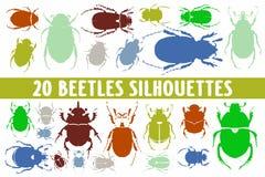 Vario insieme di progettazione di 20 siluette degli scarabei royalty illustrazione gratis