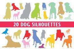 Vario insieme di progettazione di 20 siluette dei cani illustrazione di stock