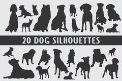 Vario insieme di progettazione di 20 siluette dei cani royalty illustrazione gratis
