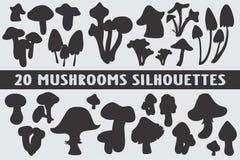 Vario insieme di progettazione di 20 siluette dei funghi illustrazione di stock
