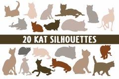 Vario insieme di progettazione di 20 siluette dei gatti royalty illustrazione gratis