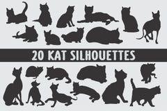 Vario insieme di progettazione di 20 siluette dei gatti illustrazione vettoriale