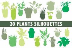 Vario insieme di progettazione di 20 siluette delle piante illustrazione vettoriale