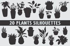 Vario insieme di progettazione di 20 siluette delle piante illustrazione di stock
