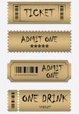 Vario insieme dorato del biglietto Fotografie Stock Libere da Diritti