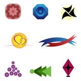 Vario logos astratto stabilito Rosa, blu, rosso, giallo, nero, blu Immagini Stock Libere da Diritti
