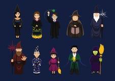 Vario mago Cute Cartoon Character dello stregone della strega Immagini Stock