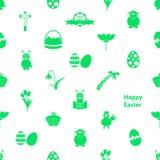 Vario modello delle icone bianco senza cuciture e verde di Pasqua Fotografie Stock Libere da Diritti