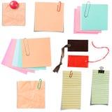 Vario papel de nota fotografía de archivo libre de regalías