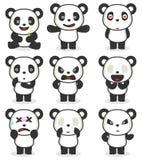 Vario personaggio dei cartoni animati del panda Fotografia Stock Libera da Diritti