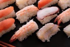 Vario primo piano giapponese di selezione dell'alimento dei sushi Fotografia Stock Libera da Diritti