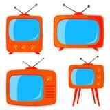 Vario retro set televisivo del fumetto arancio Immagini Stock Libere da Diritti