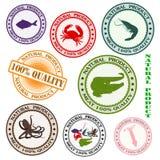 Vario sello de goma determinado con las siluetas del mar m Fotografía de archivo libre de regalías