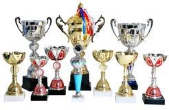 Vario taza premiada del oro y de la plata, trofeo, en el fondo blanco foto de archivo libre de regalías