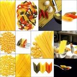 Vario tipo di collage italiano della pasta Fotografia Stock