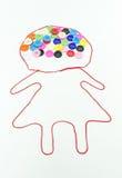 Variopinto dei bottoni che cucono con la forma della ragazza su fondo bianco Immagini Stock