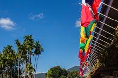 Variopinto delle bandiere internazionali su chiaro cielo blu Fotografia Stock Libera da Diritti