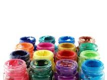 Variopinto di colore di manifesto delle bottiglie fotografia stock