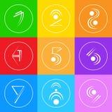Variopinto semplice astratto di Logo Icons Set Thin Line Fotografia Stock Libera da Diritti