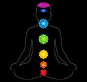 Variopinto tutti i chakras del corpo Immagini Stock
