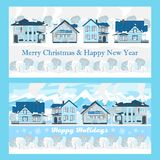varios χαιρετισμού συλλογής Χριστουγέννων καρτών 33c ural χειμώνας θερμοκρασίας της Ρωσίας τοπίων Ιανουαρίου Χειμερινά σπίτια απεικόνιση αποθεμάτων