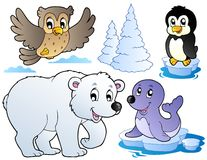 Varios animales felices del invierno Imágenes de archivo libres de regalías