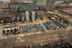 Varios barriles de cantidad del planeador de la basura tóxica Imagen de archivo libre de regalías