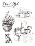 Varios bosquejos de objetos a partir de la vida rural Perro, maceta con las flores, tabla de madera con los potes y tarro Foto de archivo