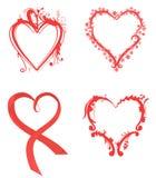 Varios corazones en color rojo ilustración del vector
