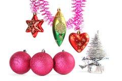 Varios decoraciones y oropel del Navidad-árbol imágenes de archivo libres de regalías