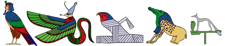 Varios demonios de Egipto antiguo ilustración del vector