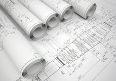 Varios dibujos de ingeniería de las volutas fotos de archivo