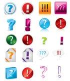Varios diseños del icono de la exclamación y de la pregunta ilustración del vector