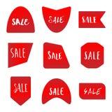 Varios estilo del sistema de etiqueta rojo de la etiqueta engomada de la venta Imágenes de archivo libres de regalías