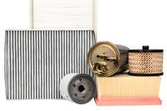 Varios filtros automotores Foto de archivo