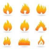 Varios iconos de la llama y del fuego Fotografía de archivo